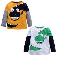 все цены на Baby Boy Kids Long Sleeve Dinosaur T-Shirt Children Cartoon Cotton Sweatshirts Tops for 2-10Years онлайн