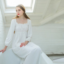 White Long dressing gown Cotton Nightgowns Women Sleep &