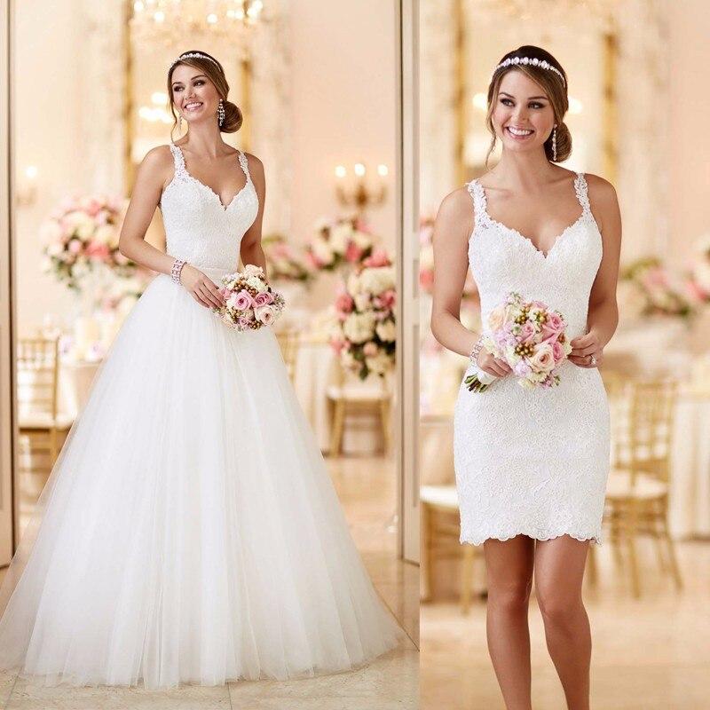 Robe De mariée Vestido De Noiva 2 pièces dentelle Appliques robes De mariée détachable Train 2 en 1 2019 Tull a-ligne robes De mariée sexy