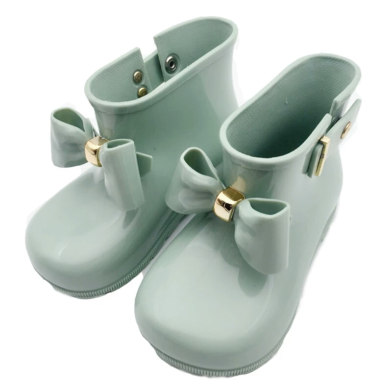 Mini Melissa 2018 Children Bow Boots Girls Jelly Water Boots Princess Shoes Anti-Skid Soft Boots Melissa Girls 4Color Shoes