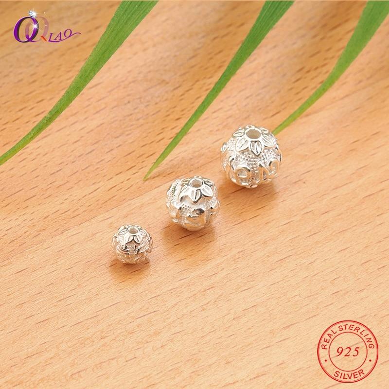 1 Pcs 6-10 Mm 925 Sterling Silber Perlen Runde Form Blume Silber Perlen Lose Spacer Perlen Armband Halskette Schmuck Machen Diy