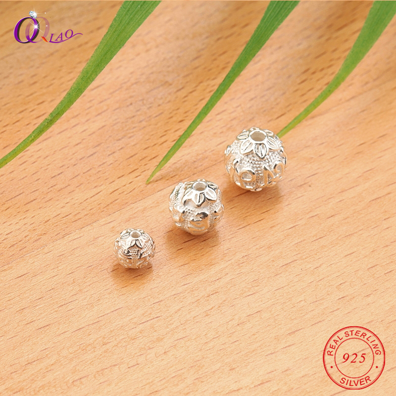 1PCS 6-10MM 925 Sterling Silver Beads Round Shape Flower Silver Beads Loose Spacer Beads Bracelet Necklace Jewelry Making DIY