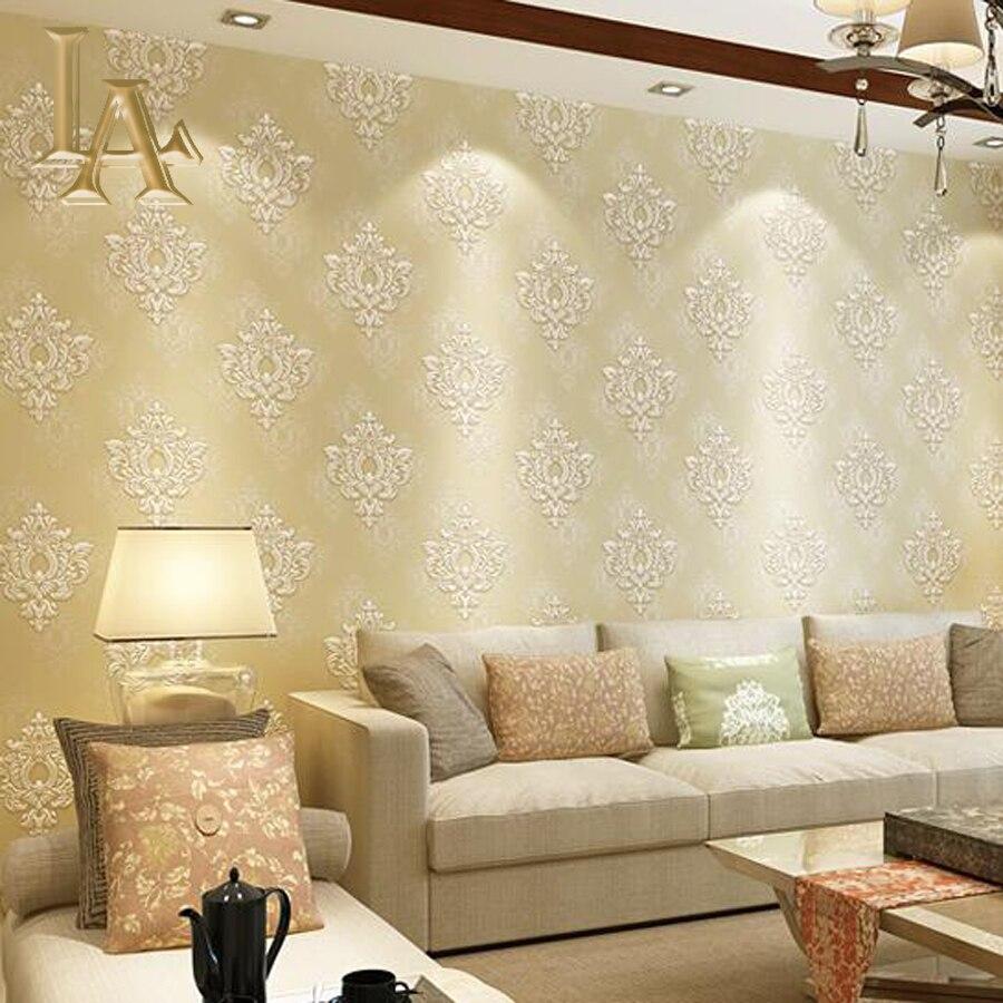 Minimalist Luxury European Pink Beige Damask Wallpaper For Walls 3 D ...
