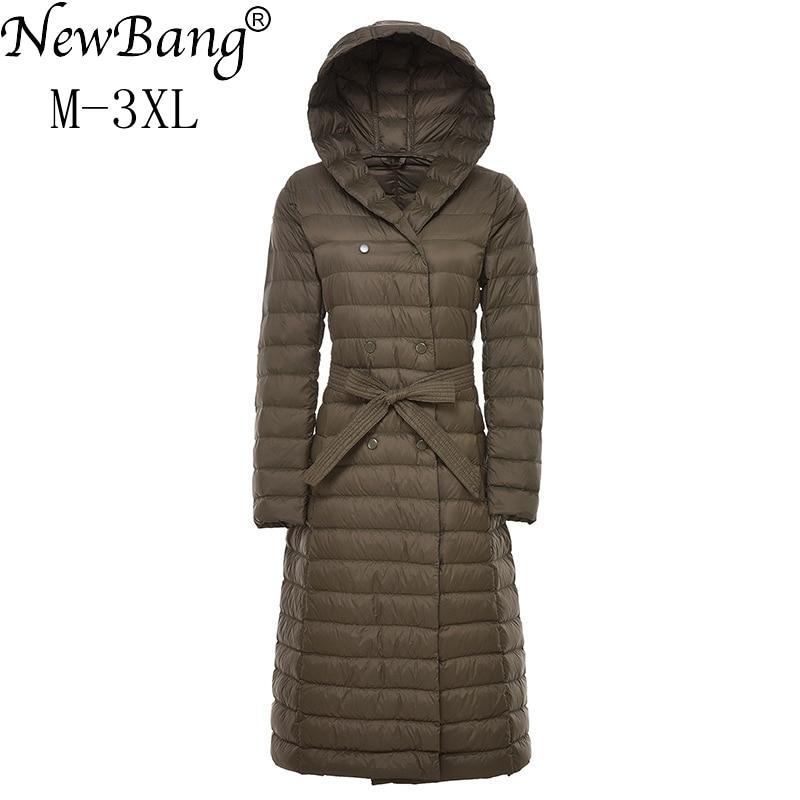 NewBnag Brand  Ladies Long Winter Warm Down Coat Women Ultra Light 90% White Duck Down Jacket With Bag Women's Overcoats Plus