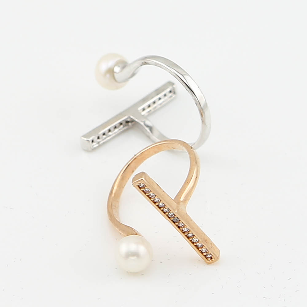 Trinketsea Pearl Metal Delicate Statement Band Rings Women Costume Wedding  Party Fashion Jewelry Cubic Zirconia Free