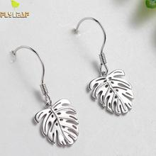 Flyleaf Brand 925 Sterling Silver Leaves Leaf Big Drop Earrings For Women Fashion Lady Prevent Allergy Jewelry