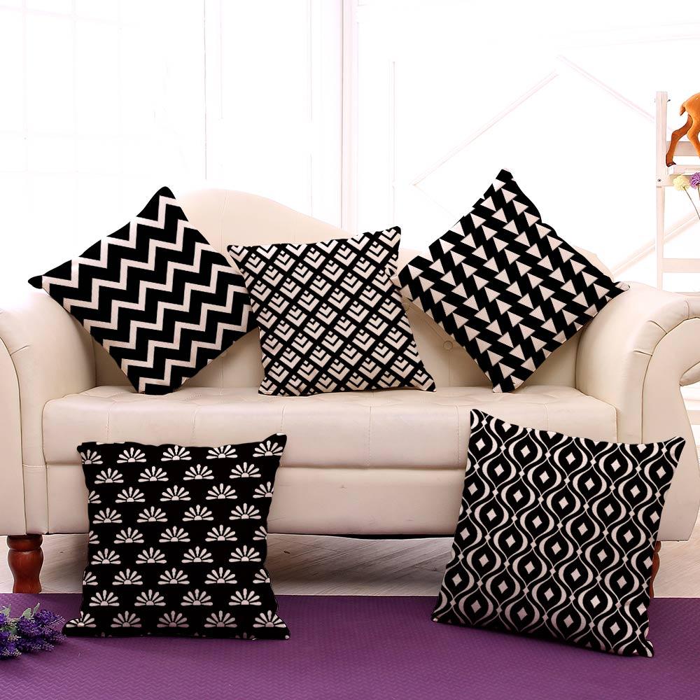Miracille Cushion Қара және Ақ Геометрия - Үй тоқыма - фото 2
