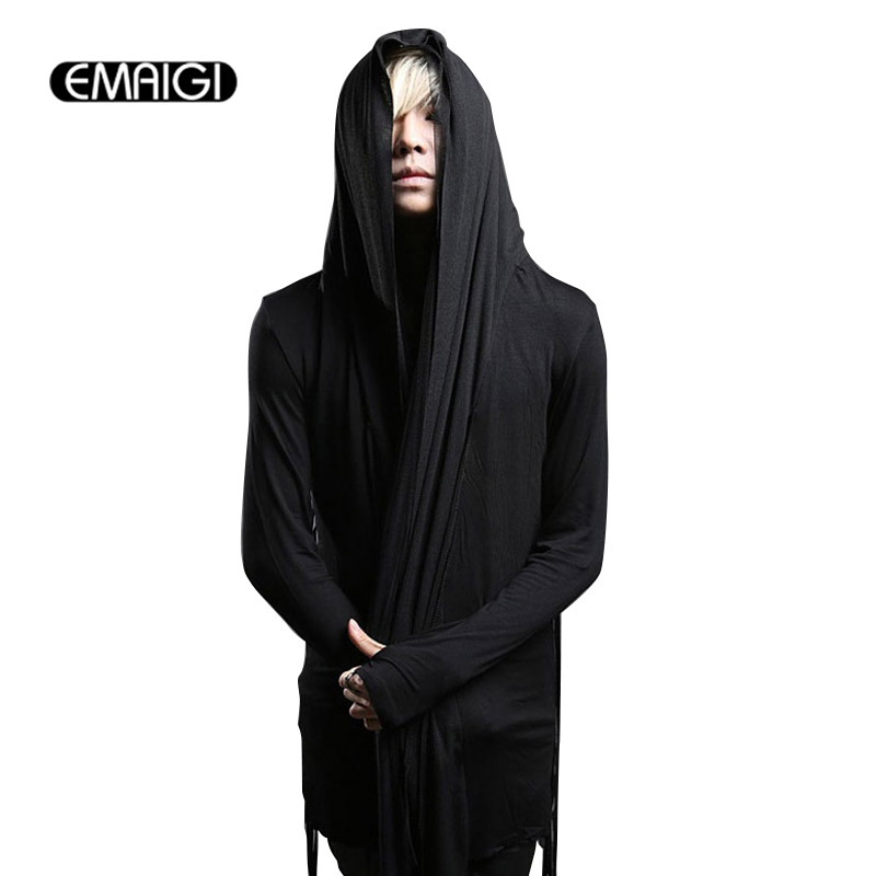 Spring autumn men trench coat male fashion punk hooded mesh splice long sleeve cardigan slim fit