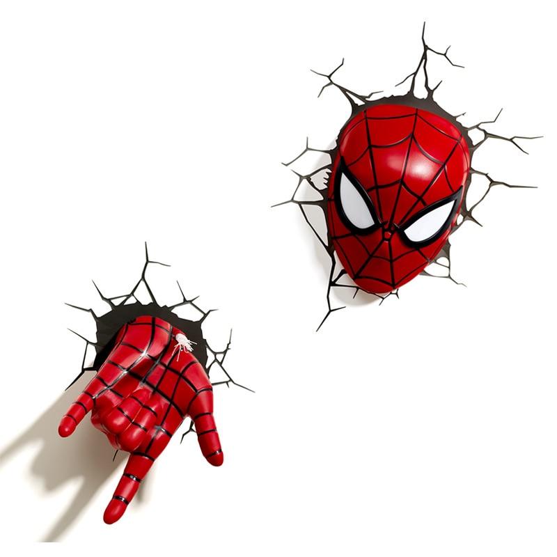 3D Spiderman main masque ensemble Avengers LED chevet chambre salon veilleuses nouveauté applique Bar café décor maison suspendus
