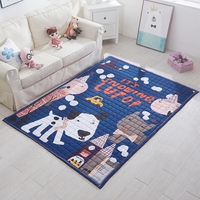 Blue Quilted Cartoon Doormat 100 Polyester Dog Print Carpet For Bedroom Sofa Floor Rug Kitchen Bath