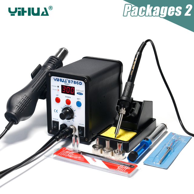 YIHUA 8786D Rework Station Digital Display Iron Soldering Stations SMD Hot Air Gun Soldering Station Welding Soldering Supplies 2
