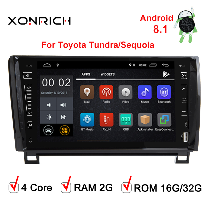 Autoradio voiture lecteur multimédia 2 Din Android 8.1 pour Toyota Tundra Sequoia 2007 2008 2009 2010 2011 2012 2013 Wifi IPS