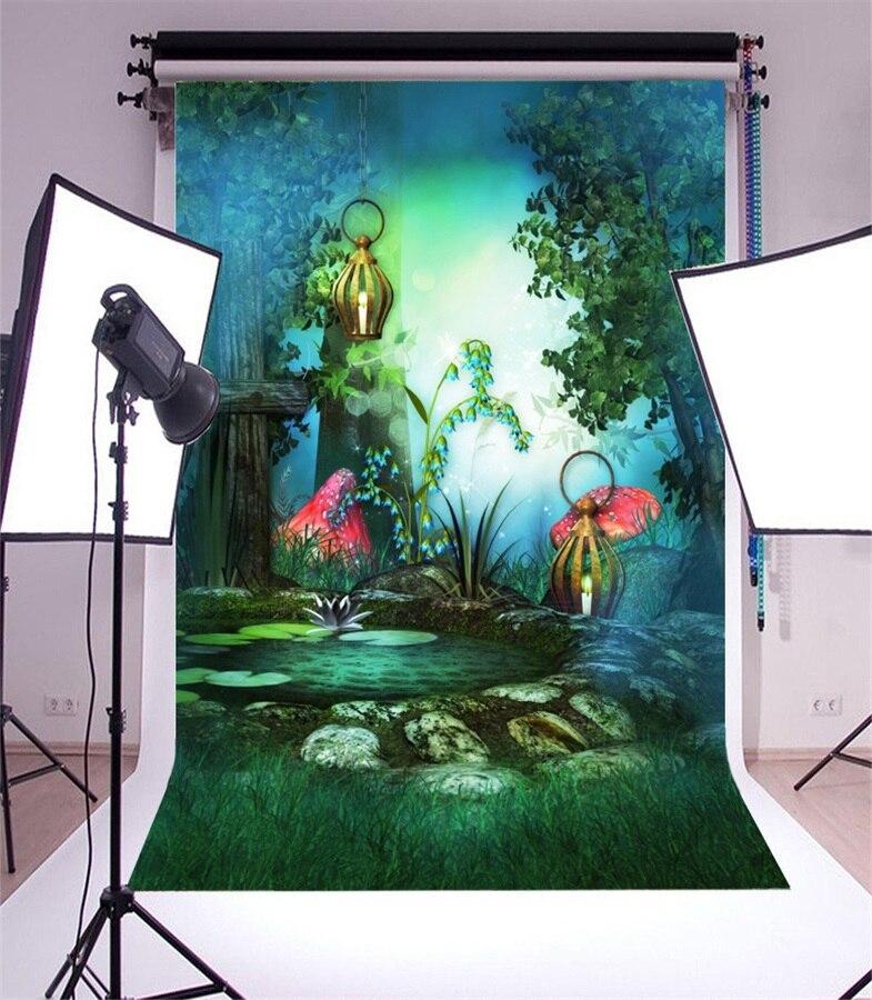 Laeacco Fairytale Hazy Mushrooms Lamps Pool Baby Photography Backdrops Vinyl Photo Backdrops Custom Backgrounds For Photo Studio