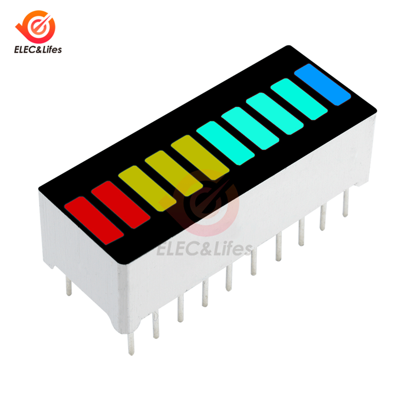 5Pcs DIY LED Light Display Module 10 Segment Bargraph Display Module Bar Graph Ultra Bright Red Yellow Green Blue Multi-color