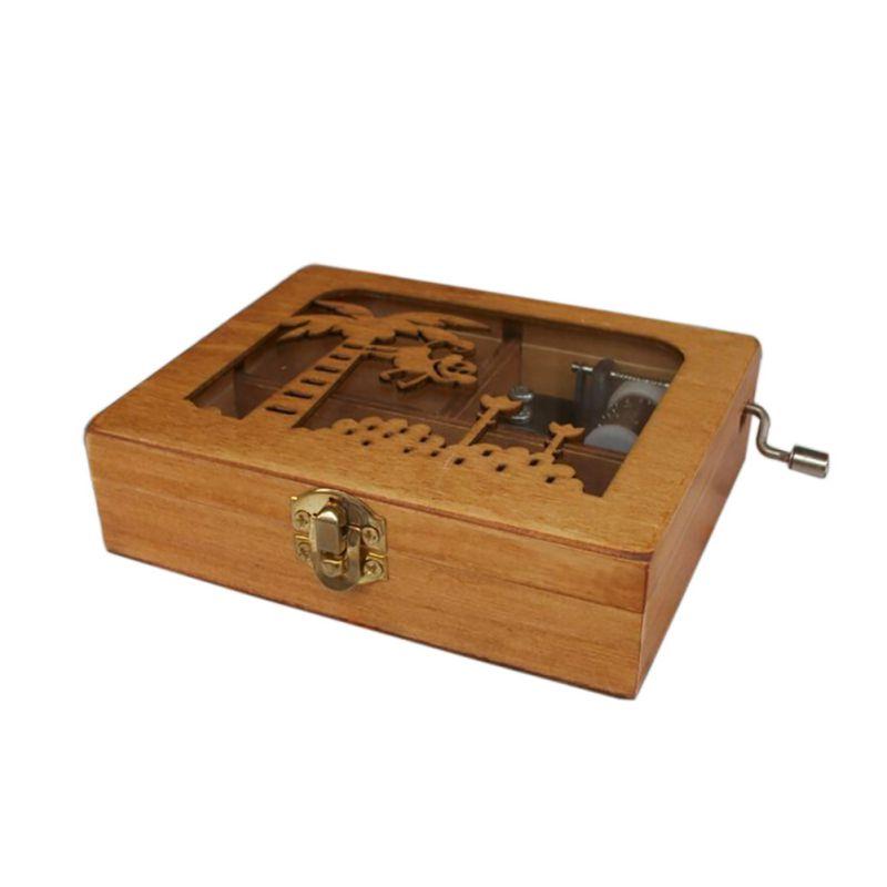 Music Box DIY Wooden Mechanical Hand Crank Craft Mini Music Box Movement Gift