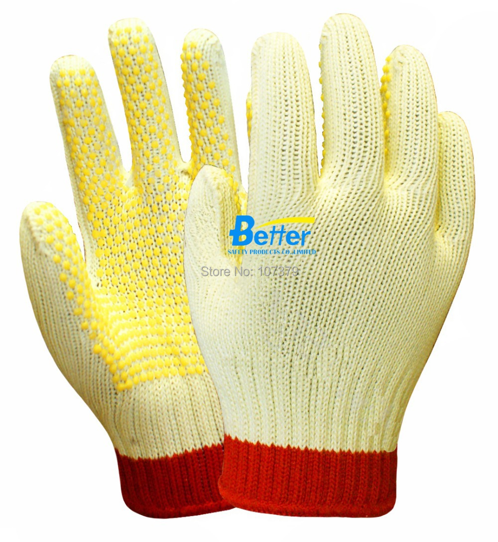 Retail Aramid Fiber Gloves With PVC Dots Cut Resistant Working Gloves HPPE anti cut Work Gloves
