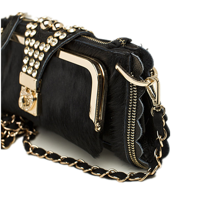 Women Evening Crystal Clutch Bags Horsehair Genuine Leather Clutches Ladies Party Hand Bags Chain Shoulder Crossbody Bags Female 6