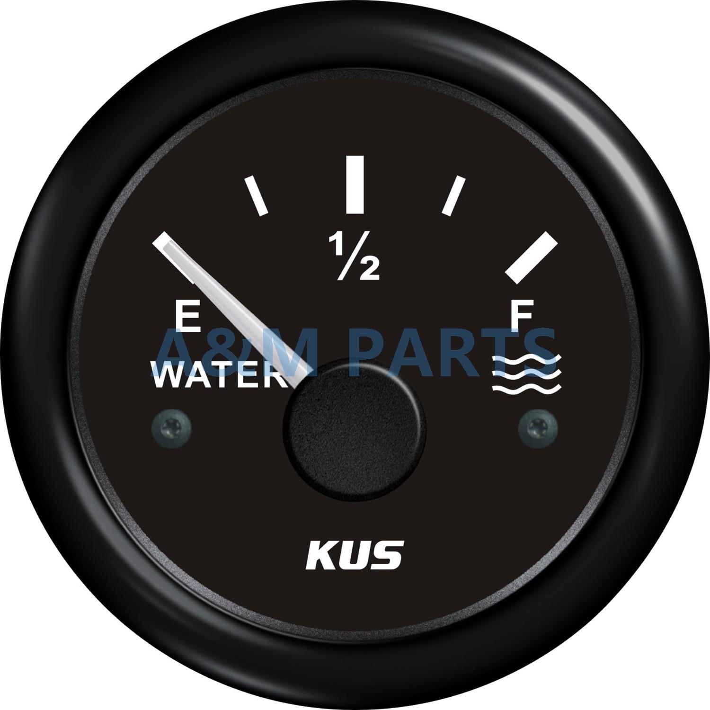 KUS Boat Water Level Gauge Marine Car Liquid Level Indicator Black 0 190ohms 52mm