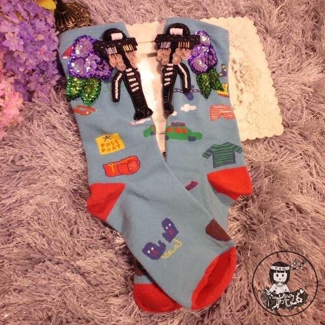 Женские носки Япония девушки носки ручной работы на заказ блестки из бисера Tide бренд тяжелый хлопок робот хит цвет короткие трубки стопки женщин