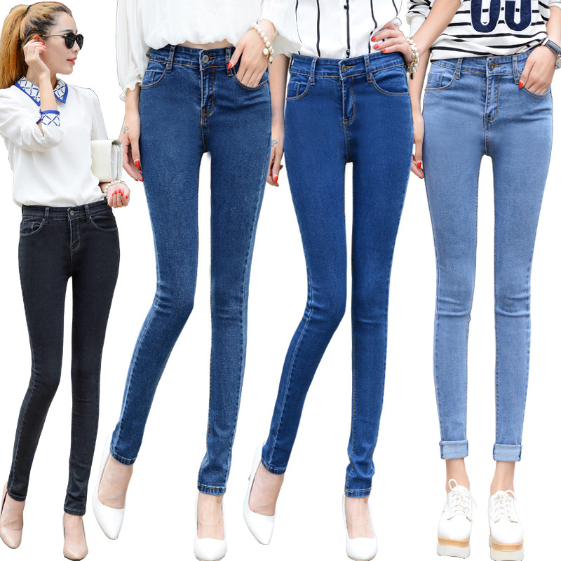 2016 Autumn and Winter New Women's Jeans Classic Wild Stretch Feet Pants Slim was Thin High Waist Jeans AXD1519