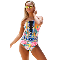 New Colorful Sexy Women Swimwear Patchwork Black Sheer Mesh One Piece Swimsuit Sexy Plunge Swimwear High Cut Bathing Suit