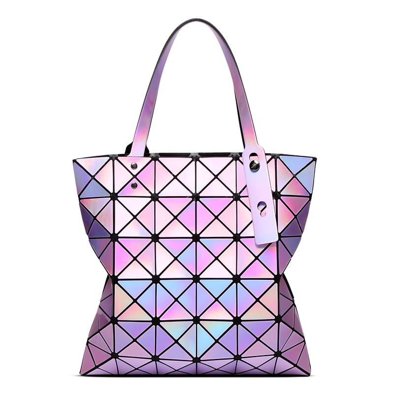 Famous Brands Women Laser Bright BaoBao Tote Lady Geometry Diamond Lattice Sequi