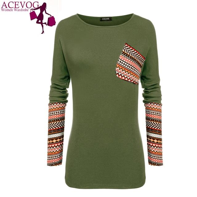 ACEVOG Women casual t shirt for 2016-2017 autumn winter basic Patchwork long sleeve plus size t-shirt S, M, L, XL, XXL
