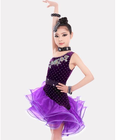 Kids Latin Dresses Velvet One Sleeve Ballroom Dance Costumes Vestidos Latino Dance Girls