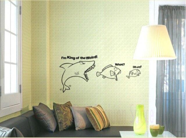 Free Shipping Big Fish Eat Small Fish Decoration Wall Decal Vinyl ...