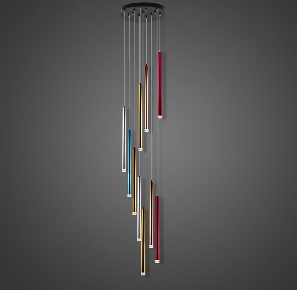 LED lustre lumières tubulaire longue conception 10 têtes de luxe moderne Aviation en aluminium salon escalier lumière lumineuse couleur métallique