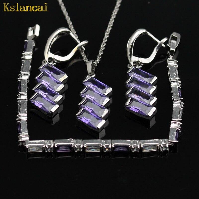 LAN классический Колье серебряное Цвет Ювелирные наборы фиолетовый камень AAA циркон декор для Ожерелья для мужчин и кулон/Серьги/браслет для ...