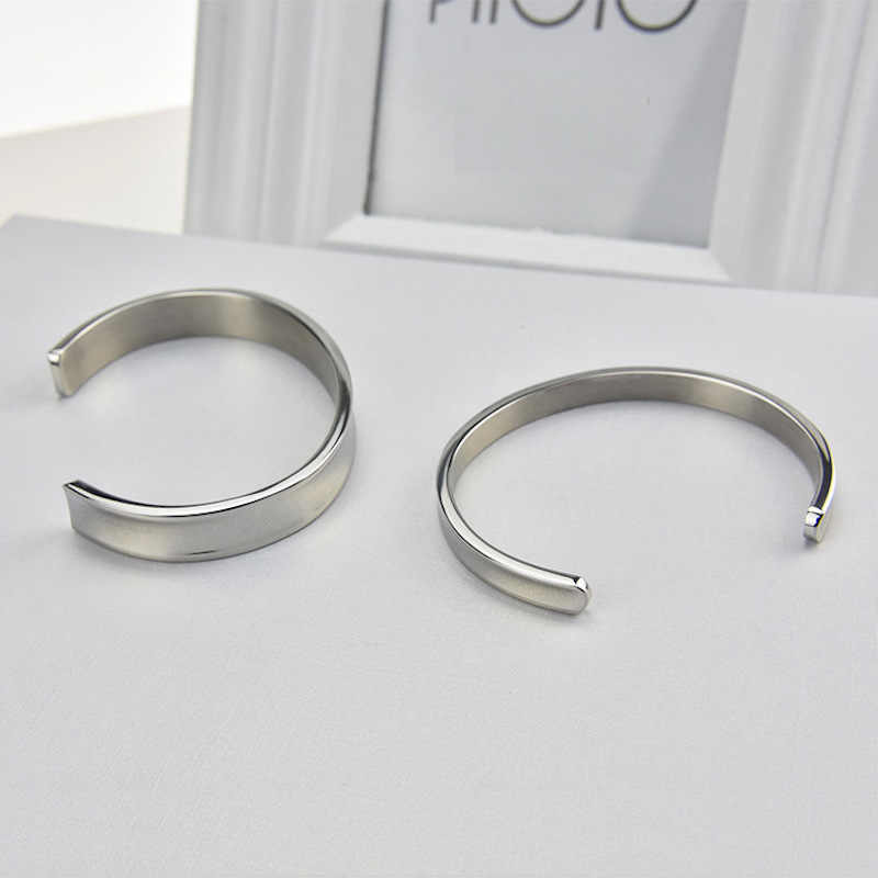 Stainless steel 7mm 10mm width blank DIY Cuff Friendship Rose gold silver lovers Bangle Couples Bracelet for Men women