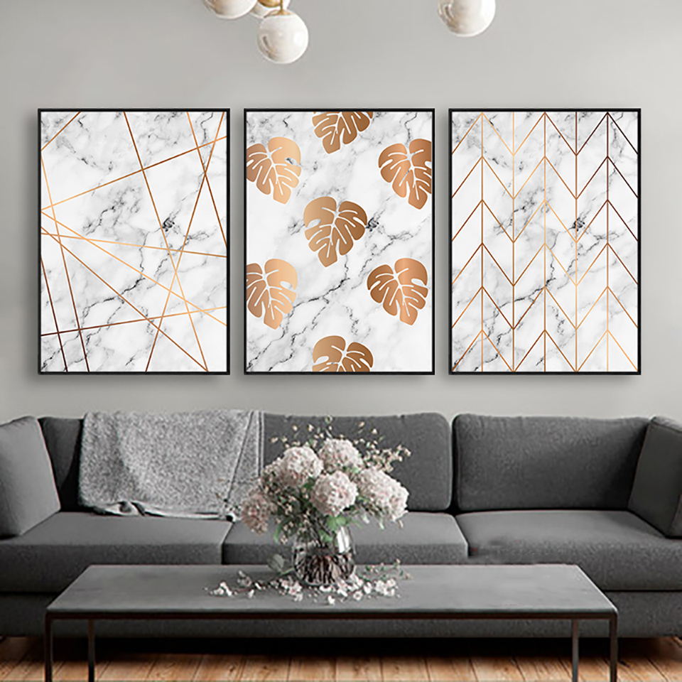 Leaf In Marble Poster Nordic Style Minimalism Prints Painting Wall Art Canvas Modular Pictures Living Room Modern Home Decor