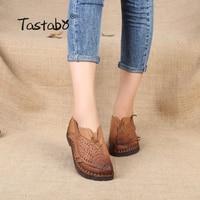 Tastabo Folk Style Flat Shoes Women Retro Handmade Shoes Sandals Fish Shoes Genuine Leather Soft Flats