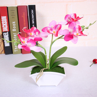 Artificial small butterfly orchid flower set with real touch leaves artificial plants overall floral for wedding
