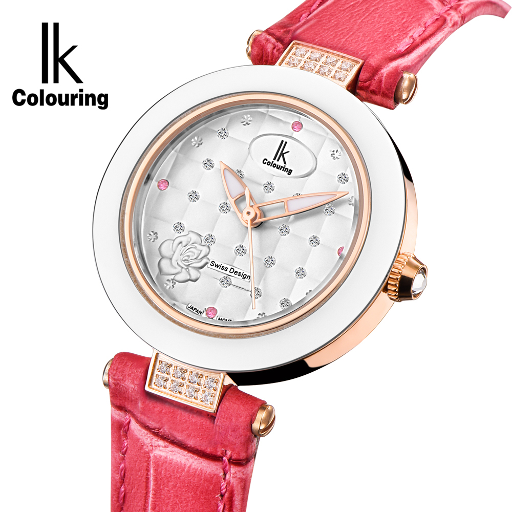 Luxury Brand IK Colouring Ladies Watches Rhinestone Studded Dial 10ATM Water Resistant Quartz Female Watch reloj <font><b>mujer</b></font> image