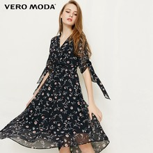 Vero Moda Summer Style floral print V-collar Chiffon knee length summer dress | 31826Z550(China)