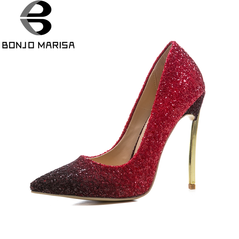 BONJOMARISA Brand New Large Size 33-45 12cm Thin High Heels Banquet Gradient Color Shoes Pumps Sexy Bling Upper Women Shoes
