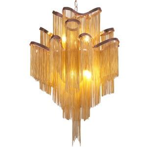 Image 1 - Moderne Luxe Zilver Goud Aluminium keten omzoomd Hanger Lamp Luxe Trap Hanger Opknoping Licht voor Thuis Hotel Decoratie