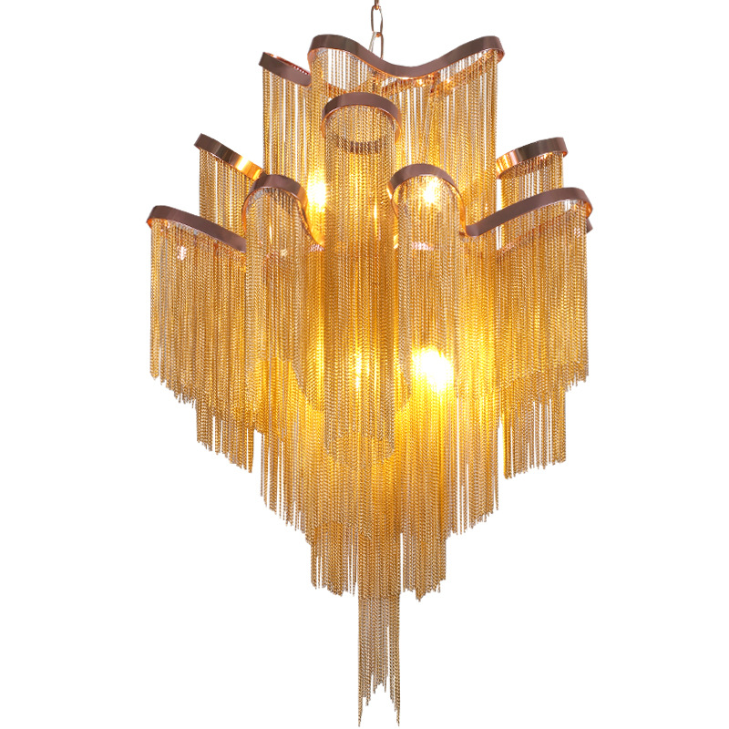 Moderno Di Lusso Oro Argento Alluminio frange catena Lampada a Sospensione Scale Di Lusso Ciondolo Appeso Luce per la Decorazione Domestica Dell'hotel