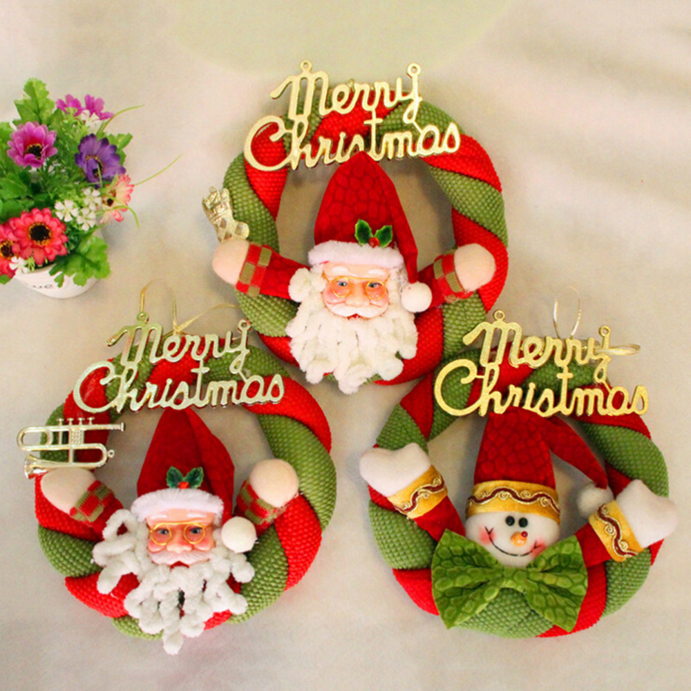 Cheap outdoor christmas decorations - Outdoor Christmas Decorations Christmas Supplies Santa Snowman Christmas Wreath Tree Door Window Christmas Decoration 1pc