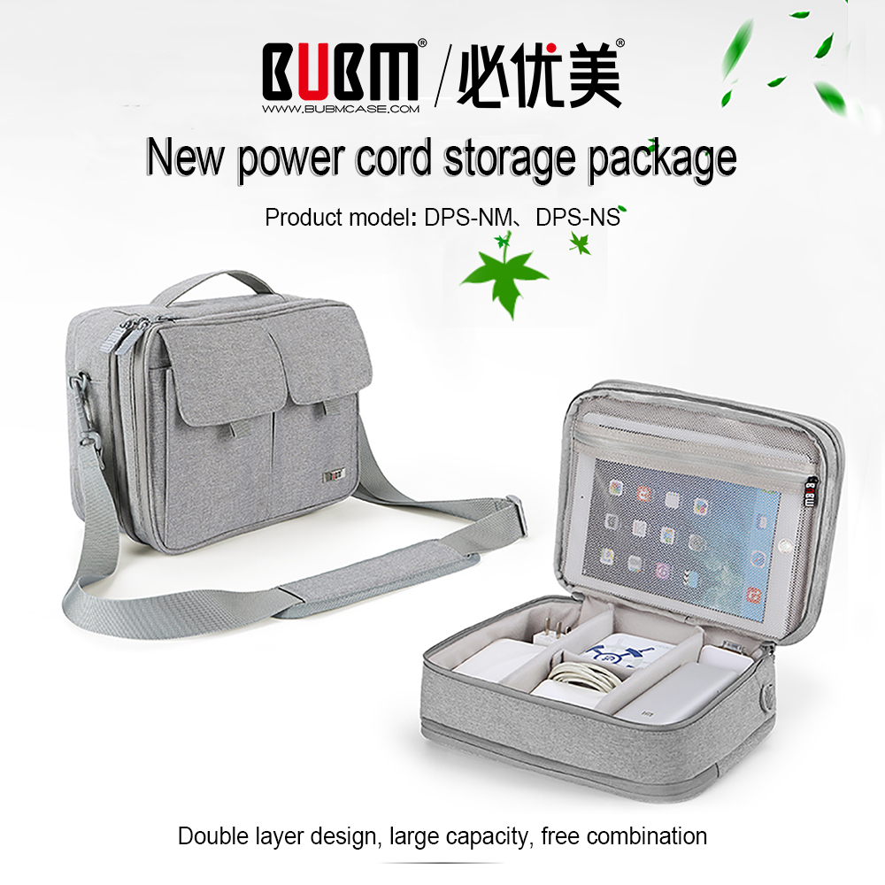 BUBM Double Layer Electronics Organizer Travel Cable Cord Shoulder Bag Electronics Accessories Storage Bag Gadget Gear Cases(China)