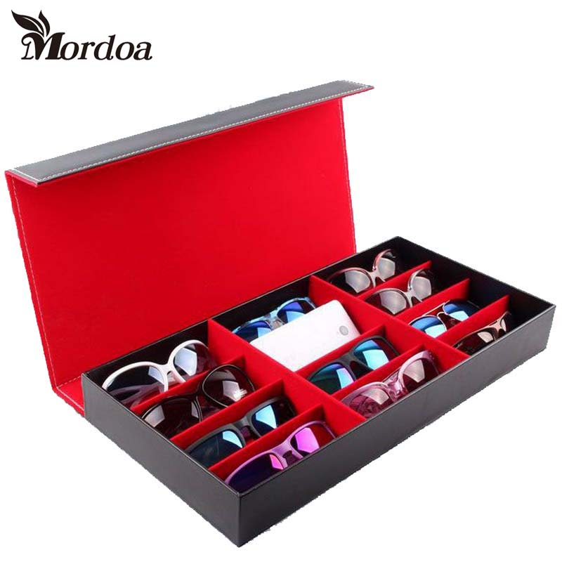 Free Shipping Mordoa High-grade leather glasses 12 grid storage box sunglasses display box 3d Glasses Display Rack/Shelf mordoa 12pcs glasses storage display case box eyeglass sunglasses optical display organizer frames tray 3d glasses display rack