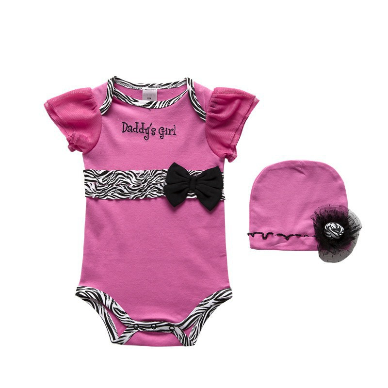 2pcs Newborn Baby Girl Clothes New Hat+Romper Playsuit Hot Pink Jumpsuit Bebe Hot Hats Rompers Bebes Clothing Set Roupa Infantil