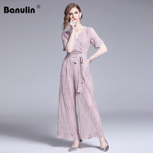 Banulin Runway Womens Summer Hollow Out Floral V-Neck Wide Leg Lace Jumpsuits 2019 New Arrival Elegant High Waist