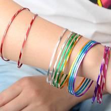 Wholesale 50pcs/Lot Colorful Dance Bangle Aluminium Wire Bracelets For Women Ladies 2017 New Fashion Jewelry