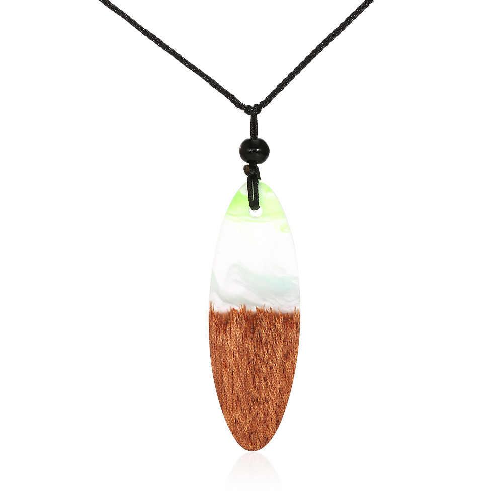 HOCOLE ファッション手作り樹脂木材のペンダントネックレスと男性幾何学的なペンダント黒ロープチェーンネックレスの宝石ビジュー