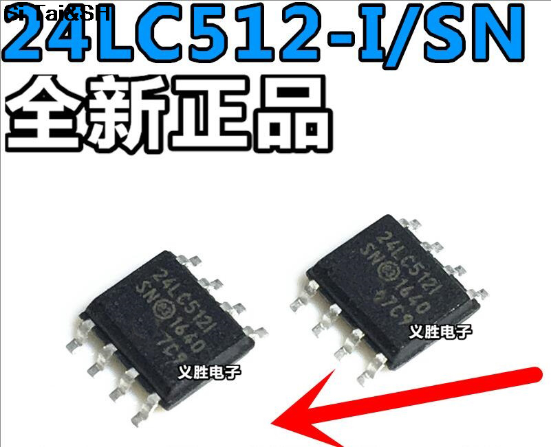 512 Kbit SOIJ 400 kHz 8 Pins EEPROM 24LC512-I//SMG 2-Wire 64K x 8bit Serial I2C Pack of 20 24LC512-I//SMG
