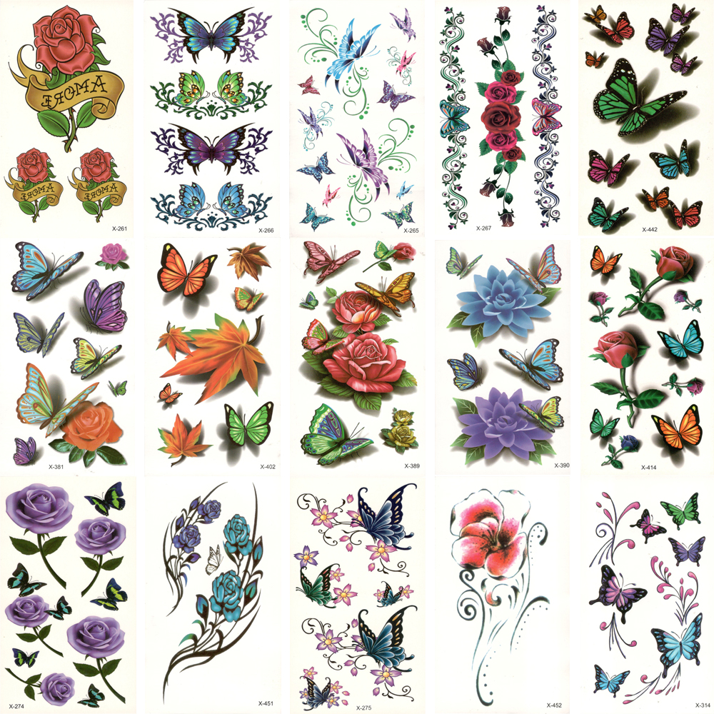 30pcs Fake Temporary Waterproof Tattoo Water Transfer Colorful Flower Butterfly Stickers Beauty Body Art Live Of Song X30ZH-04