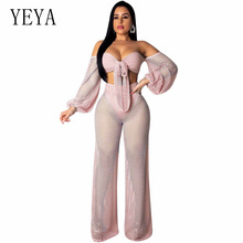 YEYA Sexy Off The Shoulder 2 Piece Set Jumpsuit See Through Fish Net Mesh Club Party Overalls Wide Leg Elegant Jumpsuits Rompers